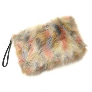 Plush Faux Fur Multicolor Large Clutch Wristlet